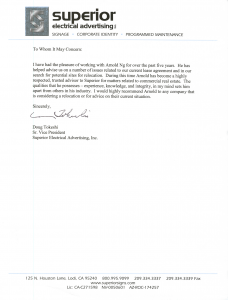 Thank you letter from Superior Electrical Advertising to Apex Commercial Real Estate