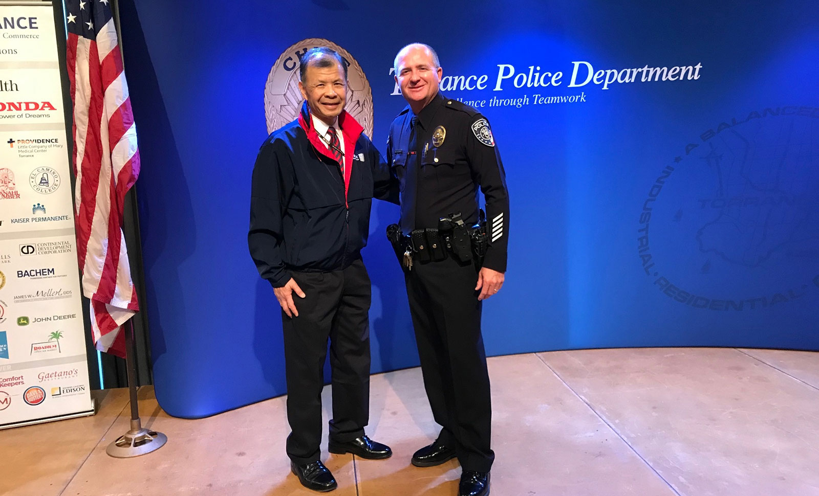 Arnold Ng of Apex Commercial Real Estate helped plan the Torrance Area Chamber of Commerce celebration of Torrance Police Department's service